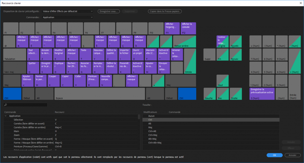 Raccourcis clavier After Effects