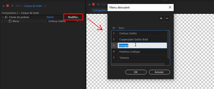 Options pour expressions Contrôle de menu déroulant